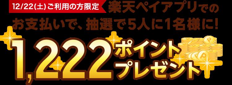 12/22(土)ご利用の方限定 楽天ペイアプリでのお支払いで、抽選で5人に1名様に!1,222ポイントプレゼント